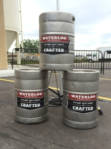 Kegs stacked at new brewhouse