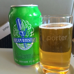 Porter Airlines serves exclusively Steam Whistle, and it's complimentary!
