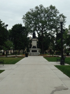 The Joseph Brant Monument in Victoria Park.