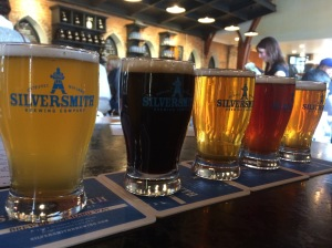 Greta flight of Silversmith beer! (L to R: Bavarian Breakfast, Black Lager, Hill 145, British