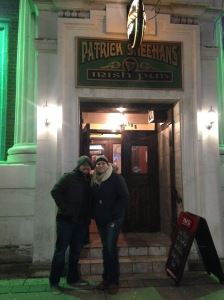 Steve & Adrienne making their Brewtrippers debut in front of Sheehan's Pub.