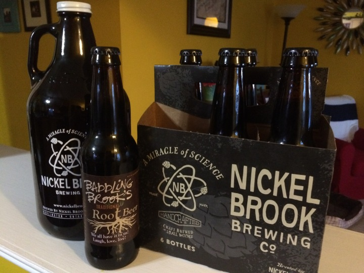 Growler and six pack from Nickel Brook