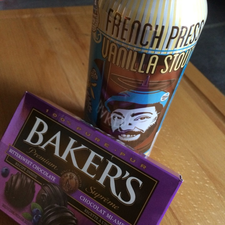 Can of beer with chocolate.