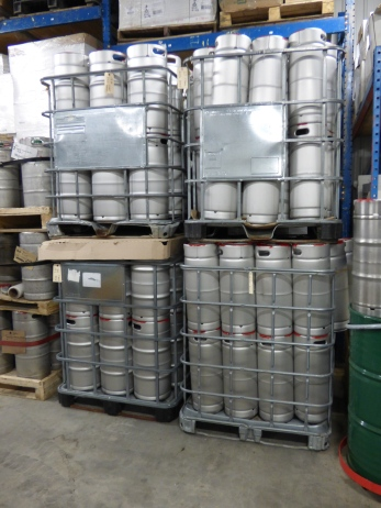 20 litre kegs waiting to be filled.